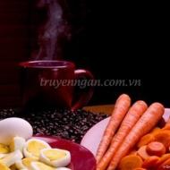 Cà rốt, trứng và cafe